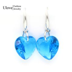 Find More Drop Earrings Information about Wholesale Heart Titanic Blue Ocean 2015 Fashion Women Wedding Crystal Earrings Silver Plated Dangle Earring Jewelry Ulove LC002,High Quality jewelry body,China jewelry stall Suppliers, Cheap jewelry gift boxes cardboard from ULOVE Fashion Jewelry on Aliexpress.com
