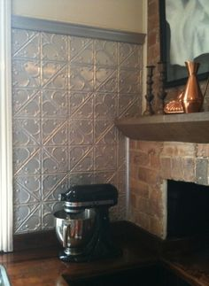 Pressed tin splashback in my old kitchen. This is the Snowflakes design - one of my favourites. Old Kitchen, Kitchen Dining, Kitchen Ideas, Dining Room, Splashback Ideas, Pressed Metal, Metal Panels, Hallway Ideas, Wainscoting