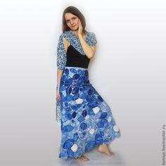"Купить юбка ""Снежная Королева"" - синий, юбка, листья, мороз, зимняя юбка…"