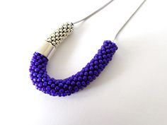 Minimalist jewelry/Blue Rope Necklace/Steel by Luthopika on Etsy