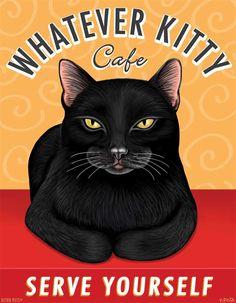 Whatever Kitty Cafe - SERVE YOURSELF | 11x14 art print by Krista Brooks. $35.00, via Etsy.