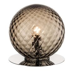 """This elegant table lamp features a diffuser entirely handmade with the finest smoky glass using the """"balloton"""" technique that creates a raised criss-cross. Glass Table, A Table, Unique Table Lamps, Light Art, Light Table, Ceiling Lamp, Murano Glass, Hand Blown Glass, Desk Lamp"""