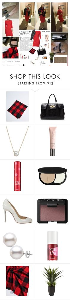 """""""Fashion journal: Jersey red dress, leather jacket &plaid shawl with pumps and handbag."""" by aleksa ❤ liked on Polyvore featuring Mulberry, Dogeared, Benefit, Tony Moly, Christian Louboutin, NARS Cosmetics and Calvin Klein"""