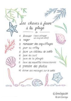 Les choses à faire à la plage=Things to do at the beach:bronzer(sans attraper un coup de soleil)=to tan(without burning)/nager=to swim/ramasser des coquillages=to collect shells/jouer au volley=to. How To Speak French, How To Speak Spanish, Learn French, Study French, French Teacher, Teaching French, French Tenses, French Practice, Core French