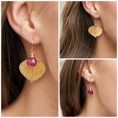 Gold aspen leaf earrings with custom wrapped gemstone