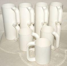 Vintage 12 White Heller Massimo Vignelli Italy MUGS Cups  MELAMINE