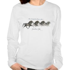 Icelandic horses are smooth as silk ~ Long sleeve Shirt The original painting was done in pen & ink with watercolor wash of an powderful Black stallion pacing Icelandic horse. (one of my Icelandic's with a ...read more