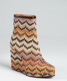 Missoni orange wavy fabric covered leather wedge booties