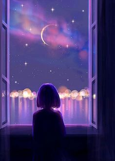 Anime Scenery Wallpaper, Cute Wallpaper Backgrounds, Galaxy Wallpaper, Cartoon Wallpaper, Cute Wallpapers, Art Anime Fille, Anime Art Girl, Aesthetic Art, Aesthetic Anime