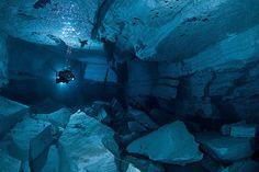 Underwater cave, landslide room