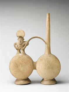 """Vase à double panse en forme de """"tambour"""", Culture Chancay, Pérou"""