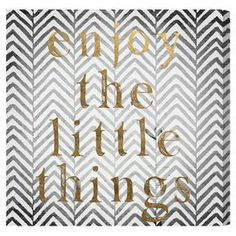 Canvas print with a text motif against a chevron background.   Product: Wall artConstruction Material: Canvas and woodFeatures:  Limited open edition with certificate of authenticity by the artistMade in the USAReady to hang