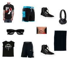 """""""Satoshi Beach Day Outfit"""" by thatanimeefreakk on Polyvore featuring Versace, TYR, NIKE, MSGM, Sun Buddies, Master & Dynamic, men's fashion and menswear"""