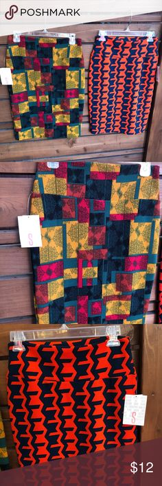 "2 LuLaRoe ""Cassie"" pencil skirts size Small Two LuLaRoe pencil skirts for the price of 1! Size small fits size 6. Classic cut, fun prints.   Measurements taken laying flat and un-stretched Waist-29"" Hip-(low hip) 34"" Length of skirt- 23.5"" LuLaRoe Skirts Midi"