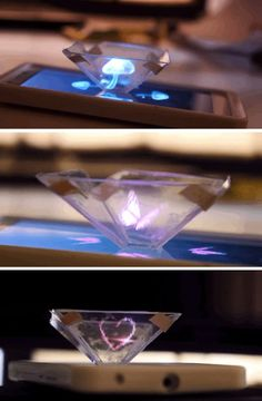 Smartphone into a hologram projector – using nothing more complicated than a sharp knife, a ruler, a pen and paper, an old CD case and four squares of sticky tape. Fun Crafts, Diy And Crafts, Cd Case Crafts, Arts And Crafts For Teens, Diy Tech, Tech Tech, Tech Art, Cool Ideas, Craft Ideas