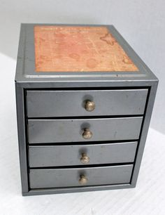 vintage metal small parts 4 drawer cabinet // by RedTuTuRetro, $50.00