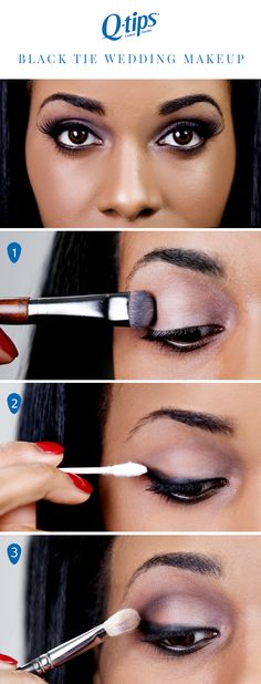 You've got your gown and jewelry for a black tie wedding, but what about your makeup? Follow our DIY tutorial for a sophisticated smokey eye. Start by covering the eyelid with a shimmery, light purple eyeshadow. Next, line your eyes with black eyeliner and extend your top line into a wing using Q-tips Precision Tip. Next add dark purple or black shadow on your outer crease. Finish with false lashes for a dramatic makeup look.