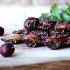 Smoked Beef Ribs with Cherry Jalapeno BBQ Sauce - made with orange juice, cherries, pineapple, cilantro, etc.
