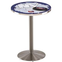 "New York Islanders NHL D2 Stainless Steel Pub Table. Available in 28"" and 36"" Table Top Widths. Visit SportsFansPlus.com for details."