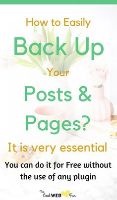How to easily backup wordpress posts and pages for free without the need of any plugin. http://www.coolwebfun.com/wordpress-backup-and-restore/