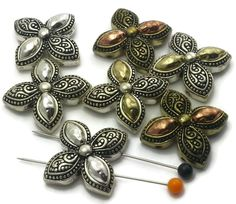 7 Floral Antqiue Silver, Copper and Gold 2 hole Slider Beads m229 - M2