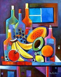 pinturas para comedor con vino y frutas muy original