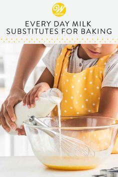 Out of milk? Learn how to use everyday milk substitutes such as heavy cream, half and half, evaporated milk or other dairy products as a replacement in your baking recipe! Sweets Recipes, Cupcake Recipes, Baking Tips, Baking Recipes, Milk Substitute For Baking, Milk Replacement, Milk Alternatives, Hot Cocoa Mixes, Cake Makers