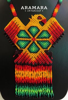 Mexican Huichol Orange Eagle and Green Peyote Necklace