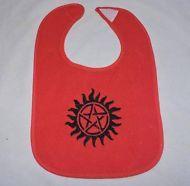 "Red Embroidered terry bib ""Anti-possession Tattoo"" Supernatural Geek nerd Ge"