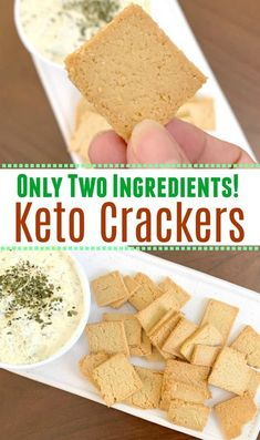 These keto crackers are made with only two ingredients! Super simple way to get that crunch you miss on a low carb diet.