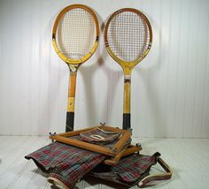 Vintage Wooden Tennis Rackets with Plaid Canvas by DivineOrders, $67.00