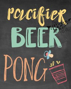 Baby Shower Paci Beer Pong Sign 8x10 Printable by TheAvocadoSeed