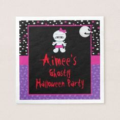 Cute Halloween Girl Mummy Halloween Party Napkin - girl gifts special unique diy gift idea