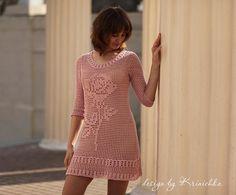 Rose Dress Lace Beach Dress Lace Cotton Dress Pink by krinichka