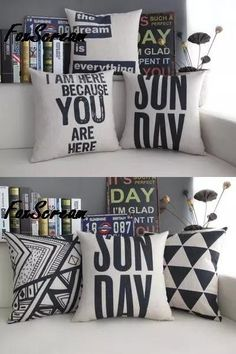[Visit to Buy] Geometric pillow letter/black and white throw pillow case/line Cushion cover/Chair Couch Seat cushions home decor for sofa White Decorative Pillows, White Throw Pillows, Throw Pillow Cases, Letter Cushion, Sofa, Couch, Geometric Pillow, Black Decor