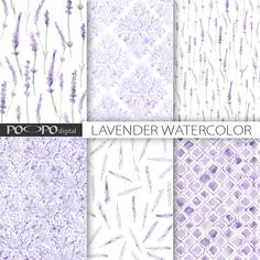 Lavender digital paper lavender watercolor by POandPOdigital