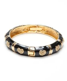 Take a look at this Black & Gold Heart Bangle by Ingenious on #zulily today!