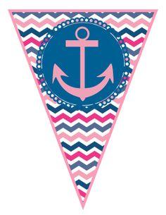Pink and Navy Chevron Nautical Birthday Party Large Bunting Banner -  DIY PRINTABLE PDF via Etsy