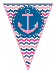 Pink and Navy Chevron Nautical Birthday Party Large Bunting Banner -  DIY PRINTABLE PDF via Etsy