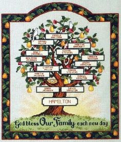 God Bless Our Family Each New Day Family Tree Sampler Genealogy Pedigree Custom Cross Stitched with Personalization for you