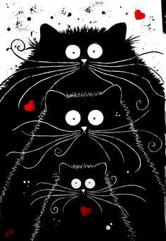 """Family Furtunes"" par Kim Haskins Canvas Art Prints, Canvas Wall Art, Three Cats, Cat Crafts, Cat Drawing, Whimsical Art, Art Plastique, Cat Art, Art Blog"