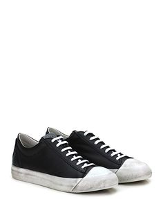 OXS - Sneakers - Uomo - Sneaker in pelle con suola in gomma effetto vintage, tacco 30. - NERO - € 209.00