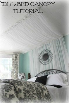 Or drape a sheer pattern to add dimension to a small room. | 14 Dreamy DIY Canopy Beds That Will Transform Your Bedroom