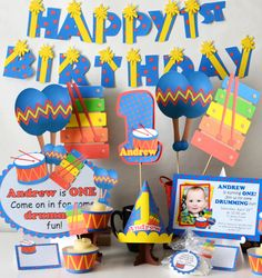 Toy Drum Musical Instrument Birthday Party Theme  - Invitations, Invites, Cupcakes, Decorations, Cake, Favors, Banner, Signs Centerpiece #bcpaperdesigns