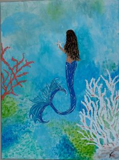 Original Acrylic Painting-Art Beach Decor Mermaid Picture 18 X 24 on Etsy, $99.00