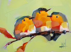 Three Robins on Branch no. 4 original bird oil by Angela Moulton prattcreekart