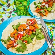 Tangy Roast Sweet Potato and Pumpkin Wraps