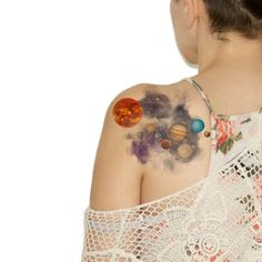 Temporary Tattoo - Watercolor Solar System, Sun, Moon, Space, Galaxy, Space travel - NO. N03