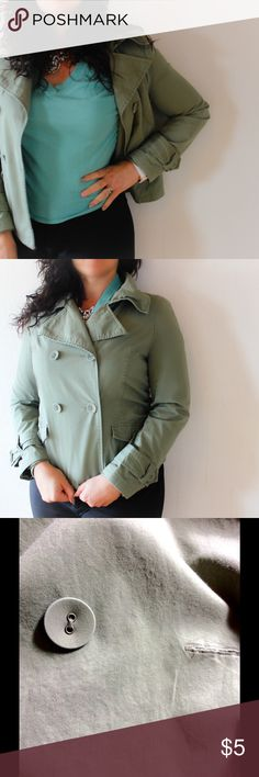 MERONA green jacket Hi there! This is the color of the season! But it is a little tight on me now. It has a little stain, as the last picture shows is pretty much impossible to see. Doesn't has a belt. Is pretty light and comfy!!! Merona Jackets & Coats