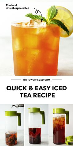 The classic iced tea - classic for good reason, as it can be enjoyed throughout the whole year. Here's a quick and easy iced tea recipe if you want to learn the proper steps to make it (from a tea sommelier too)! Click to get started. Milk Tea Recipes, Iced Tea Recipes, Drink Recipes, Homemade Iced Tea, Tea Sandwiches, Best Tea, How To Make Tea, Summer Drinks, High Tea
